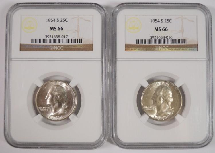 2 1954-S WASHINGTON QUARTERS NGC MS-66