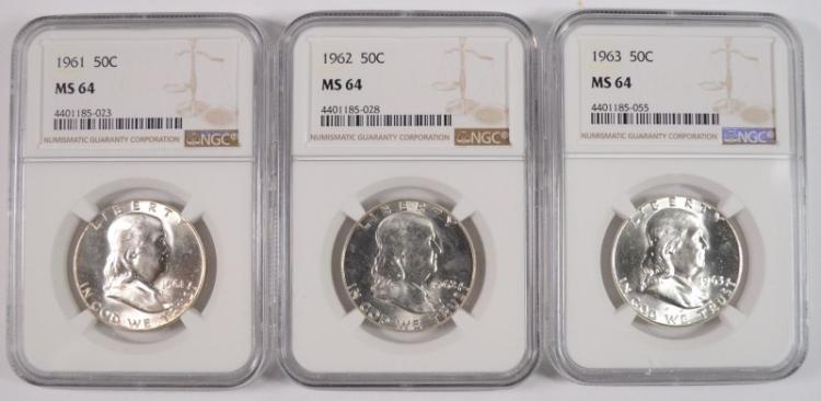 1961, 1962 & 1963 FRANKLIN HALF DOLLARS, NGC MS-64