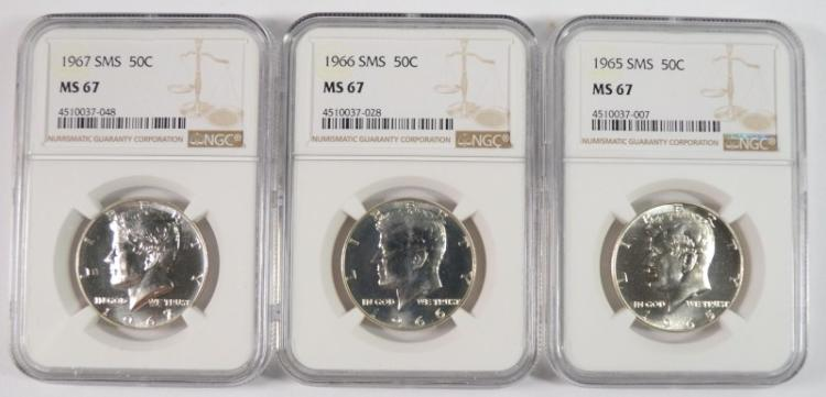 1965, 1966 & 1967 SMS KENNEDY HALF DOLLARS, NGC MS-67