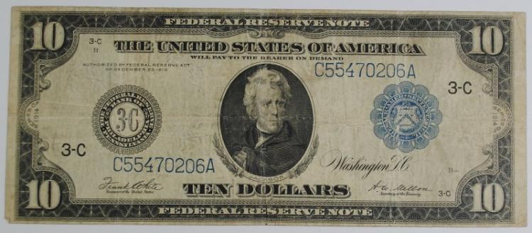 1914 $10 FEDERAL RESERVE NOTE - FINE+