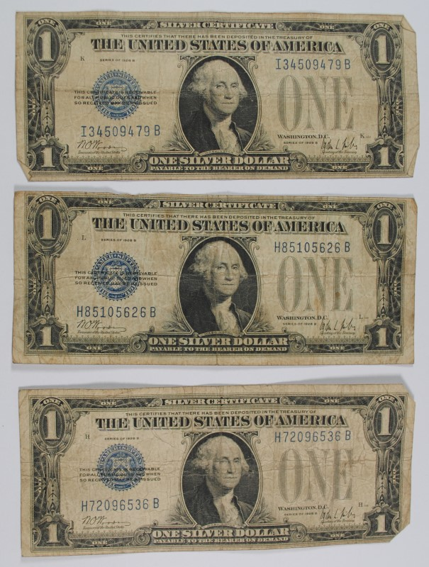 3 - 1928 $1.00 ( FUNNY BACK ) SILVER CERTIFICATES