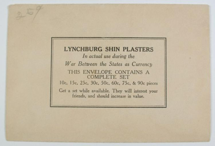 COMPLETE SET OF ( 8 ) LYNCHBURG SHIN PLASTERS CIVIL WAR OBSOLETE CURRENCY NOTES