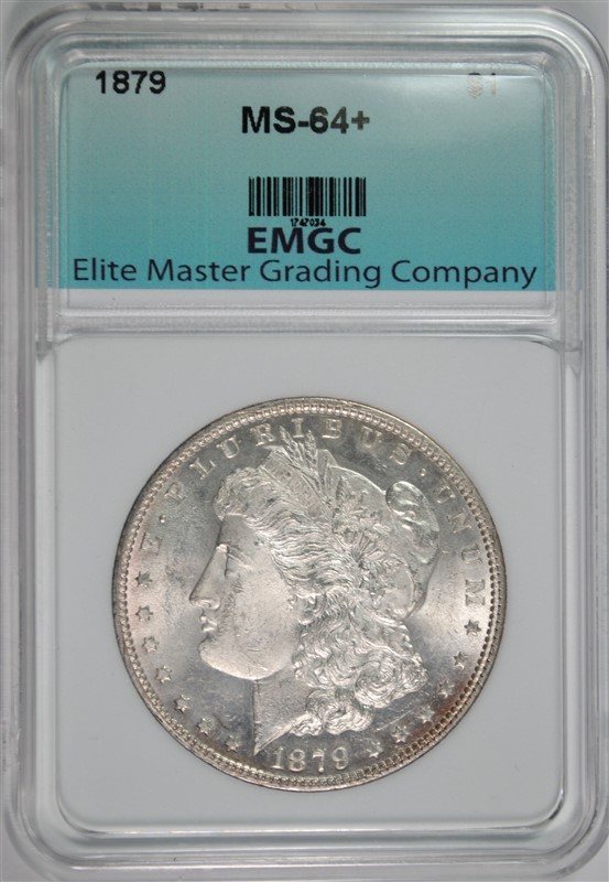 1879 MORGAN SILVER DOLLAR, EMGC CH+/GEM BU
