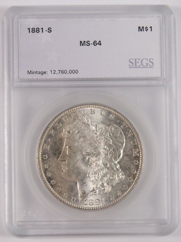 1881-S MORGAN SILVER DOLLAR, SEGS CHOICE BU+
