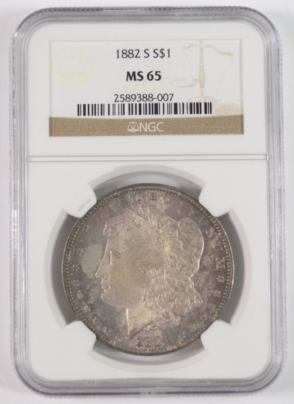 1882-S MORGAN DOLLAR NGC MS-65 COLOR
