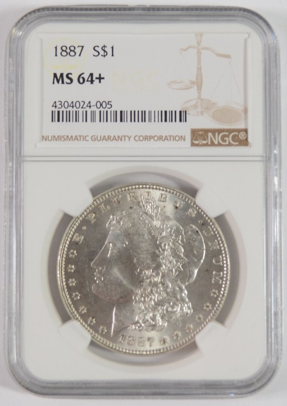 1887 MORGAN DOLLAR NGC MS-64+