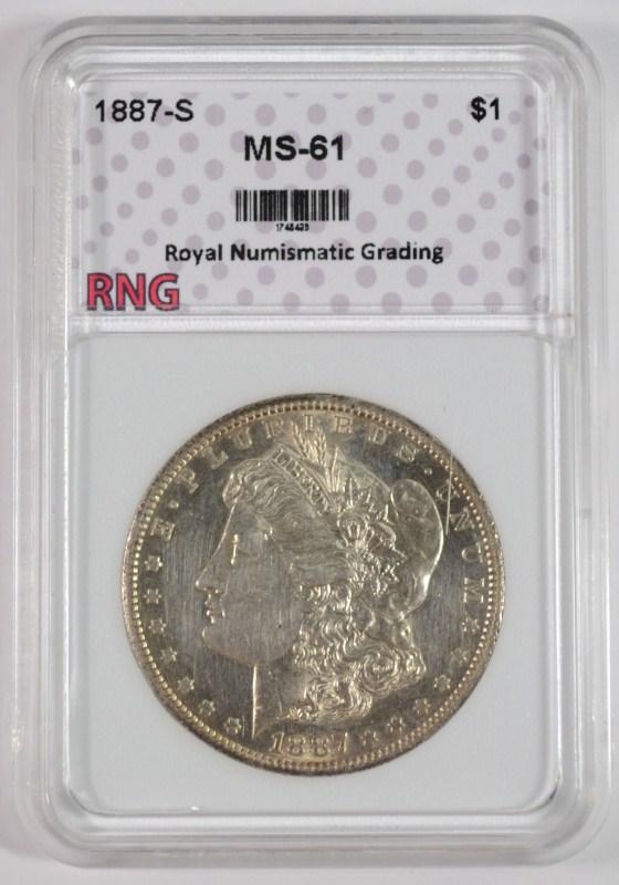 1887-S MORGAN SILVER DOLLAR, RNG CHOICE BU