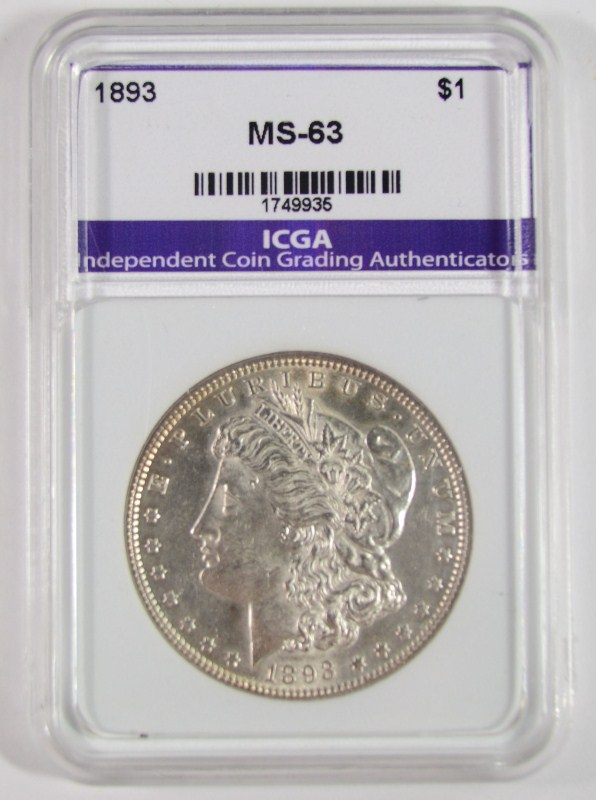 1893 MORGAN SILVER DOLLAR, ICGA CHOICE BU
