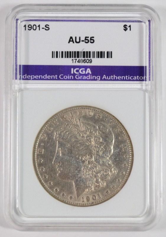 1901-S MORGAN SILVER DOLLAR, AU/BU