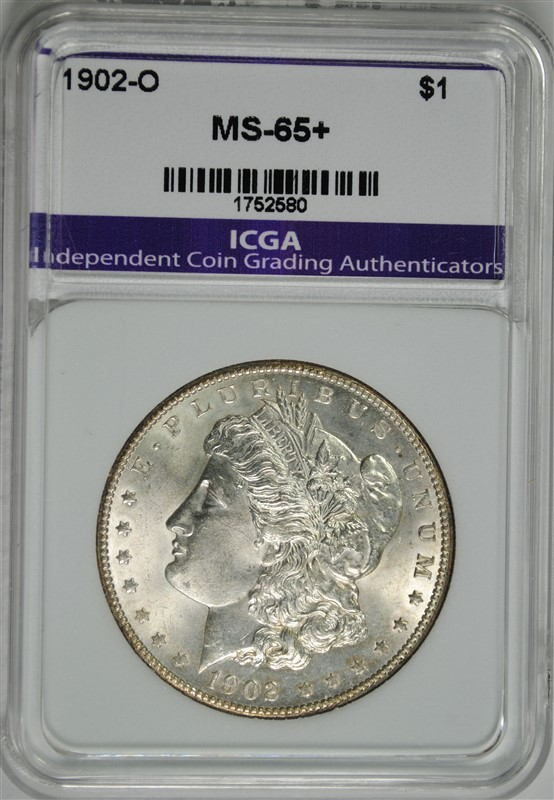 1902-O MORGAN SILVER DOLLAR ICGA GEM BU+