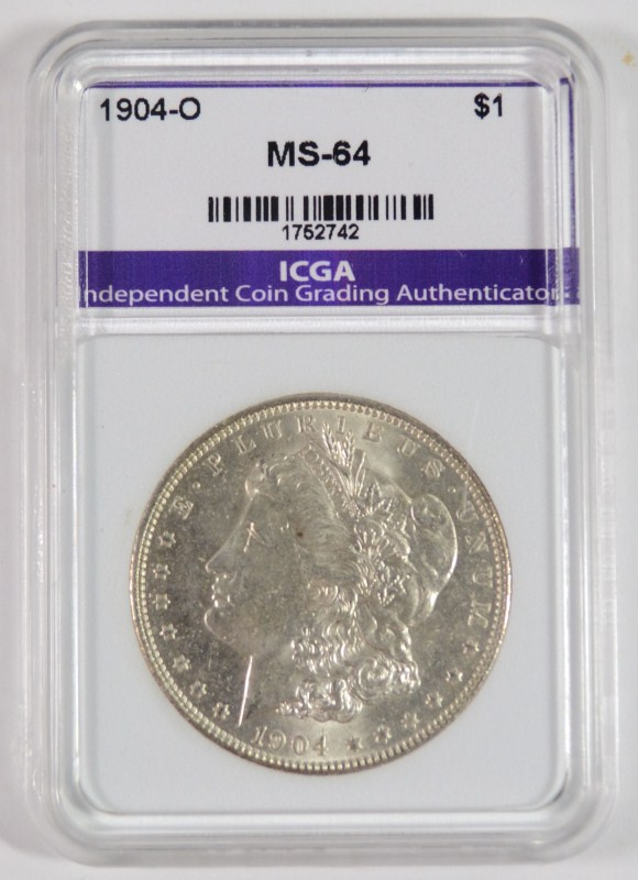 1904-O MORGAN SILVER DOLLAR ICGA CHOICE / GEM BU