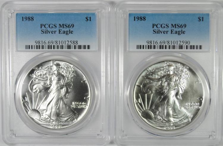 ( 2 ) 1988 AMERICAN SILVER EAGLES, PCGS MS-69