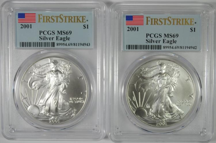 ( 2 ) 2001 AMERICAN SILVER EAGLES, PCGS MS-69 FIRST STRIKE  BETTER DATE