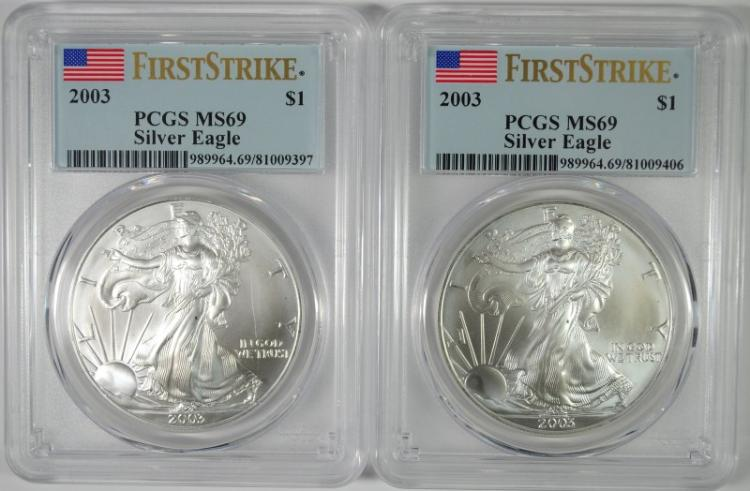 ( 2 ) 2003 AMERICAN SILVER EAGLES, PCGS MS-69 FIRST STRIKES