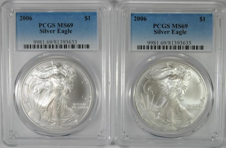 ( 2 ) 2006 AMERICAN SILVER EAGLES, PCGS MS-69