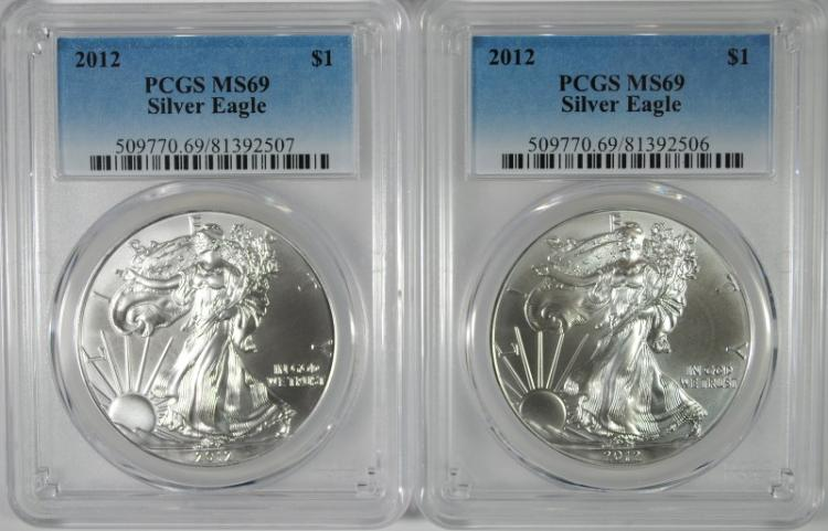 ( 2 ) 2012 AMERICAN SILVER EAGLES, PCGS MS-69
