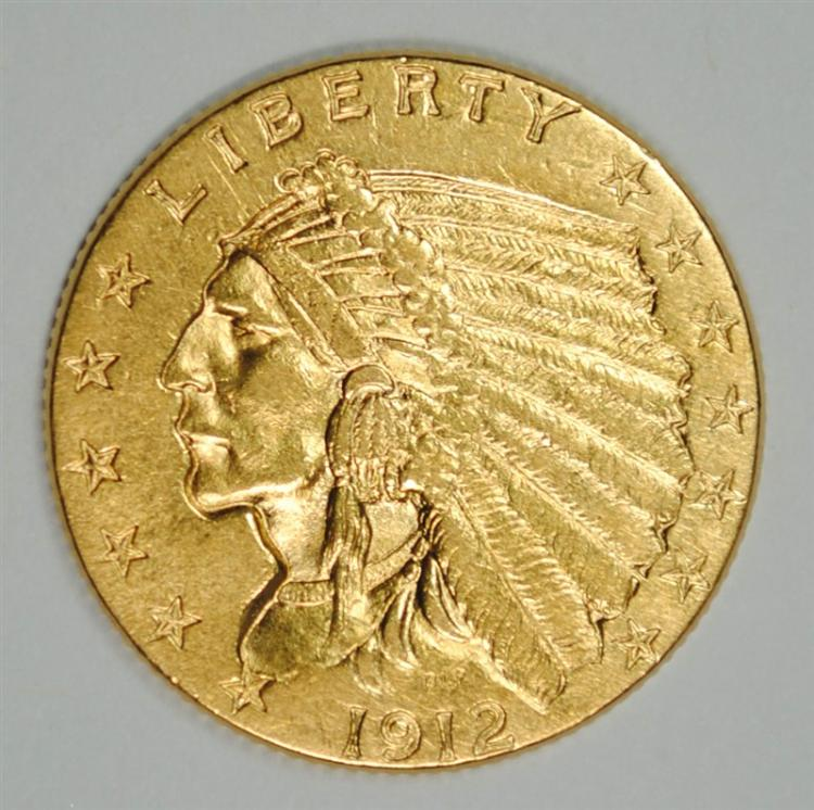 1912 $2.5 GOLD INDIAN AU