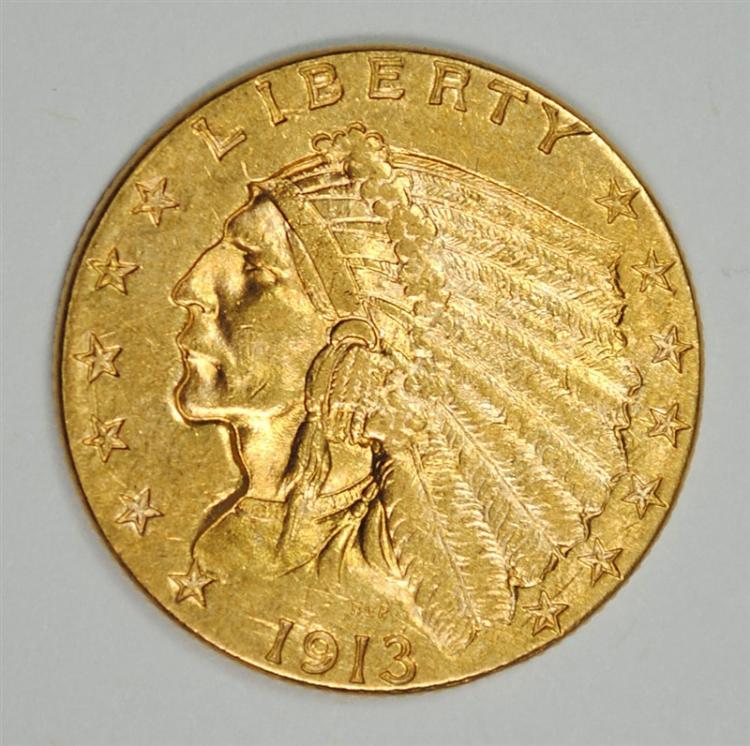1913 $2.5 GOLD INDIAN BU