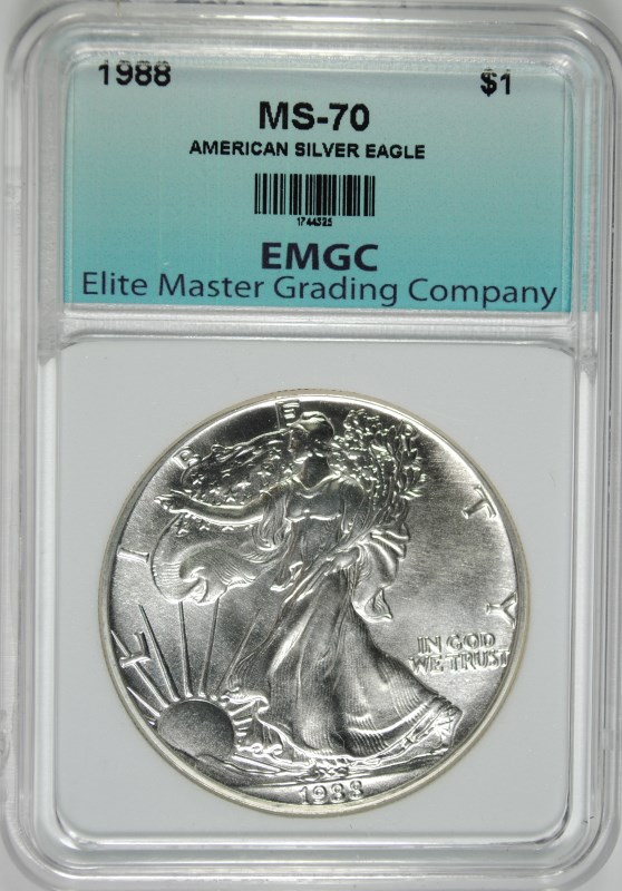 1988 AMERICAN SILVER EAGLE, EMGC PERFECT GEM BU