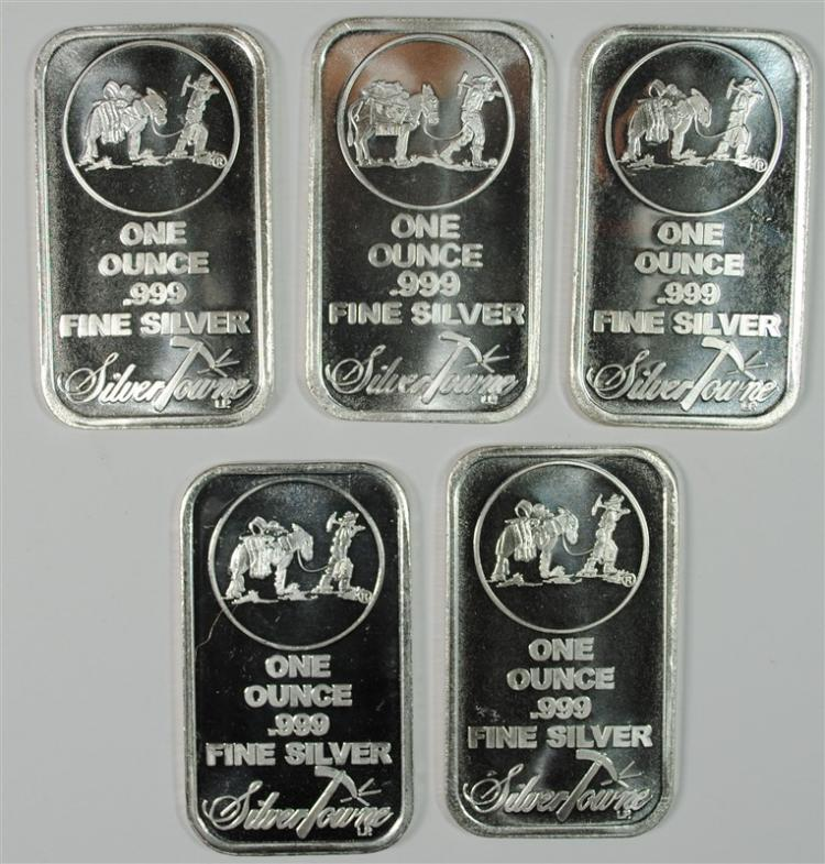 ( 5 ) ONE OUNCE ,999 SILVER BARS-SILVERTOWNE