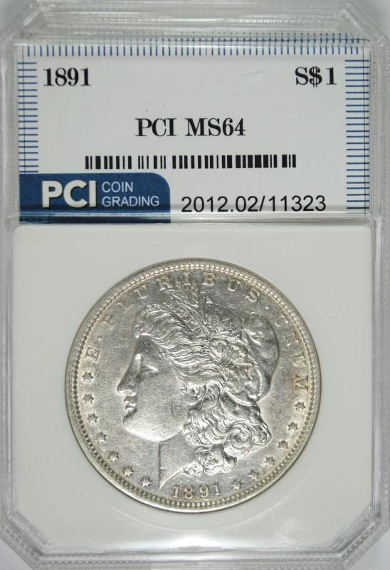 1891 MORGAN SILVER DOLLAR PCI CH BU SEMI-KEY DATE