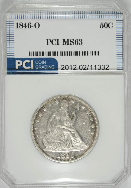 1846-O MEDIUM DATE LIBERTY SEATED HALF DOLLAR PCI CH BU  RARE DATE!