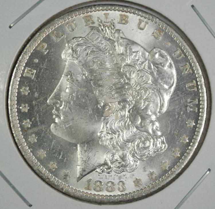 1883-O MORGAN SILVER DOLLAR CH BU+