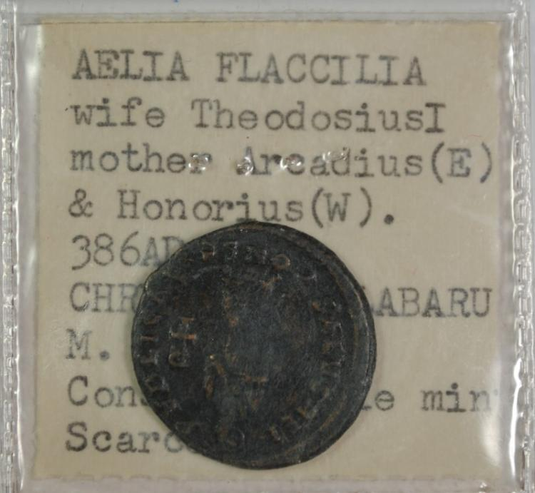 ANCIENT ROMAN COIN, AELIA FLACCILIA WIFE OF THEODOSIUS I 386AD