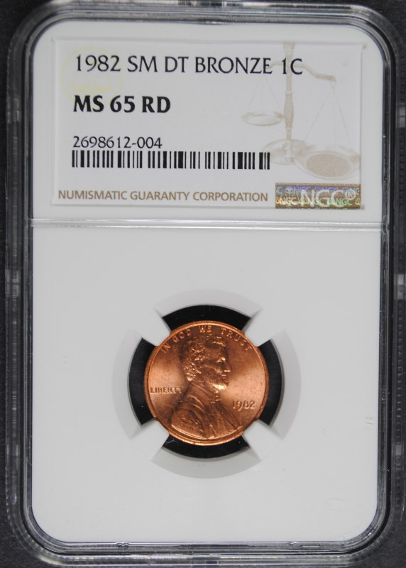1982 SMALL DATE BRONZE LINCOLN CENT NGC MS 65 RD