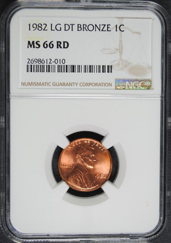 1982 LARGE DATE BRONZE LINCOLN CENT NGC MS 66 RD