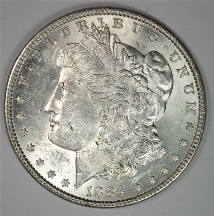1884 MORGAN SILVER DOLLAR, CHOICE BU