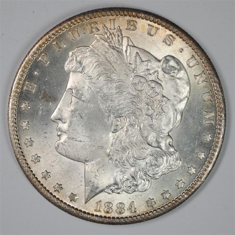 1884-CC MORGAN SILVER DOLLAR CH BU  SEMI KEY