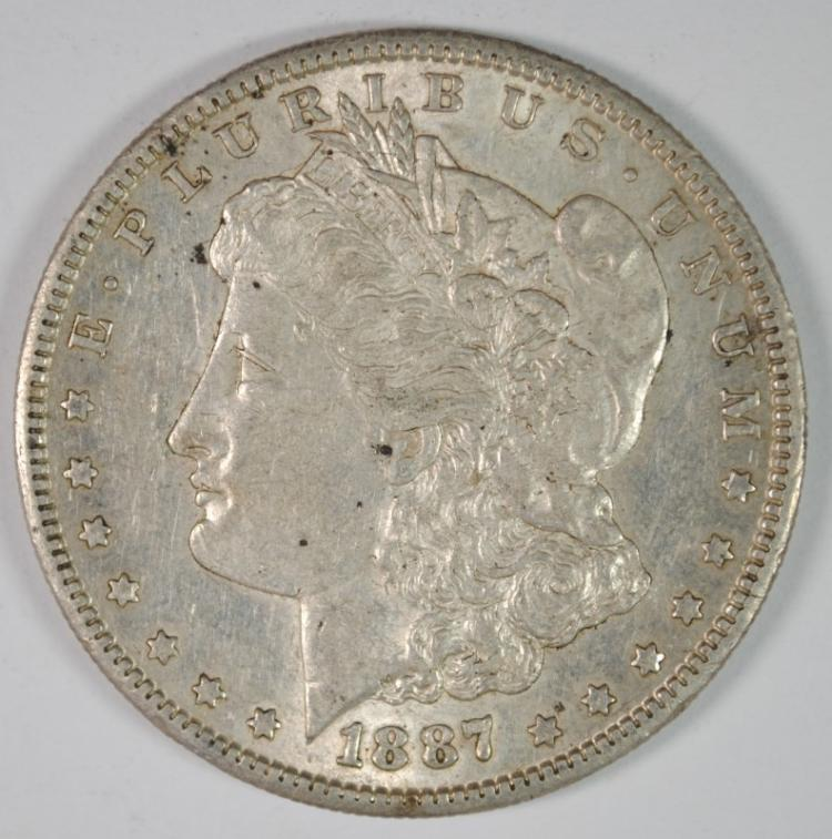 1887-S MORGAN SILVER DOLLAR, AU/.UNC  ORIGINAL