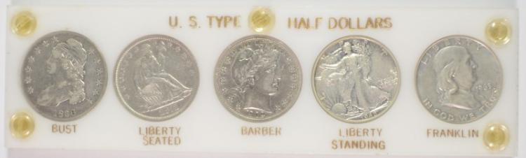 U.S. HALF TYPE SET IN PLASTIC: 1836 VF, 1871-S XF, 1902 XF, 1945 XF & 1963-D AU