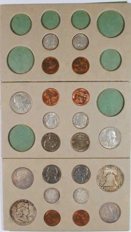 1955 U.S. MINT SET AS ORIGINALLY ISSUED, WITH  ENVELOPE, 2 OF EVERYTHING STRUCK!