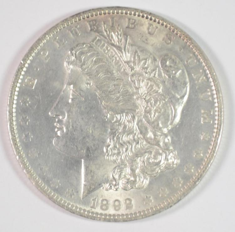1892 MORGAN DOLLAR CHOICE BU WHITE, VERY NICE