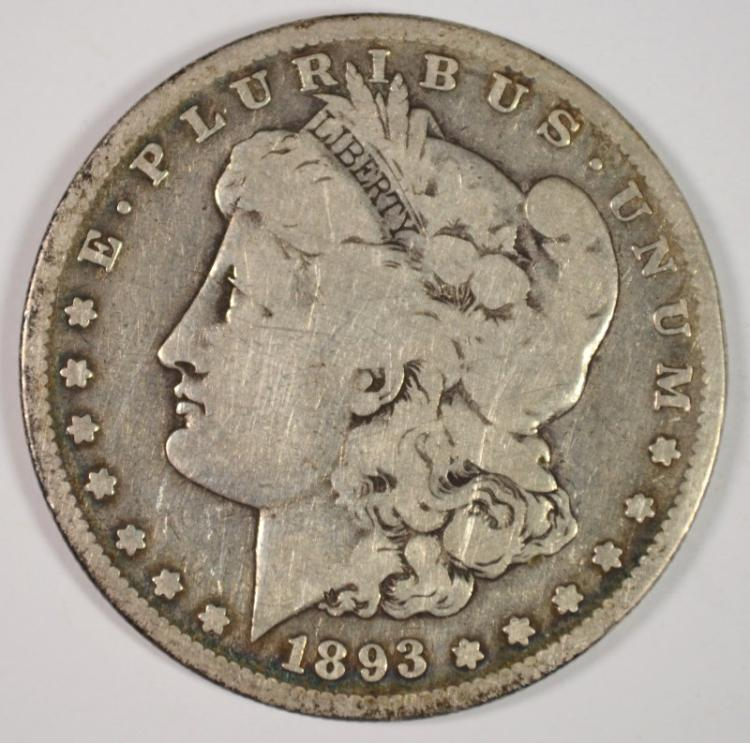 1893-S MORGAN SILVER DOLLAR, VG  PROBLEM FREE THE