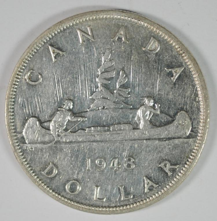 1948 CANADA SILVER DOLLAR CH BU, KEY OF THE SET & VERY RARE!