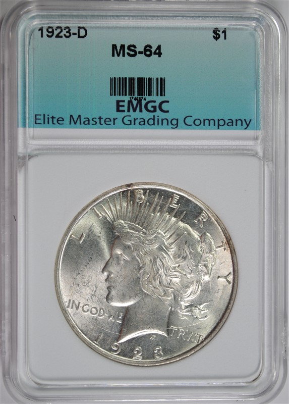 1923-D PEACE SILVER DOLLAR GRADED EMGC CH BU
