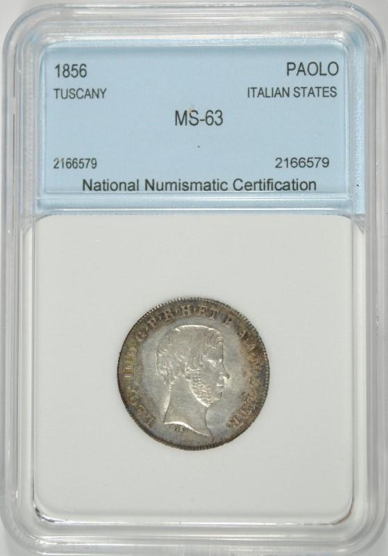 1856 SILVER PAOLO TUSCANY ITALY NNC CHOICE BU