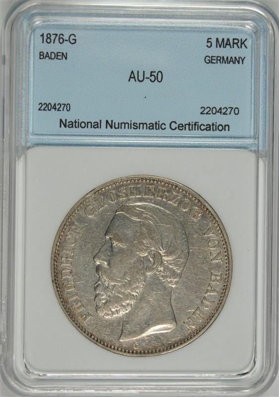 1876-G SILVER 5 MARKS BADEN GERMANY NNC AU RARE