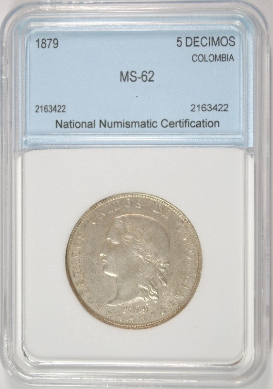 1879 (BALL-TAILED 9) SILVER 5 DECIMOS COLOMBIA NNC CHOICE BU SCARCER VARIETY