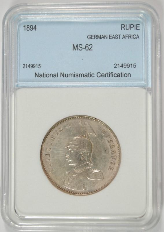 1894 SILVER RUPIE GERMAN EAST AFRICA NNC CHOICE BU RARE KEY DATE