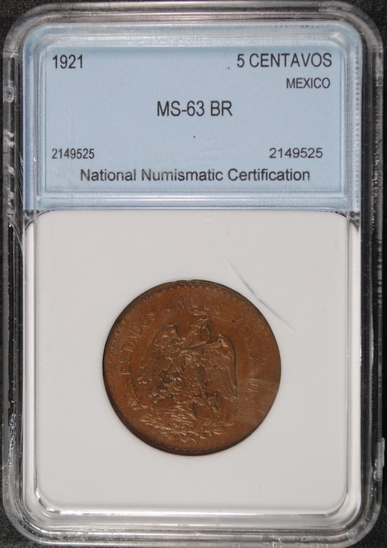 1921 5 CENTAVOS MEXICO NNC CHOICE BU BR SCARCE