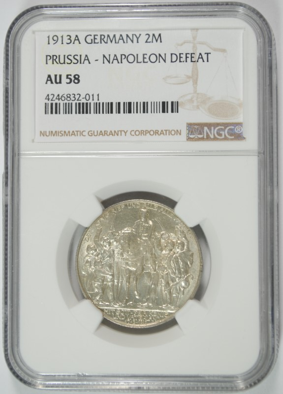 1913A SILVER 2 MARKS PRUSSIA GERMANY NGC AU58