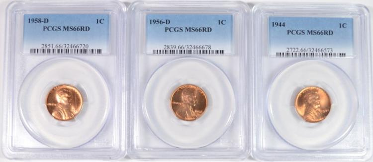 ( 3 ) PCGS GRADED MS-66 RED LINCOLN CENTS: 1944, 56-D & 58-D
