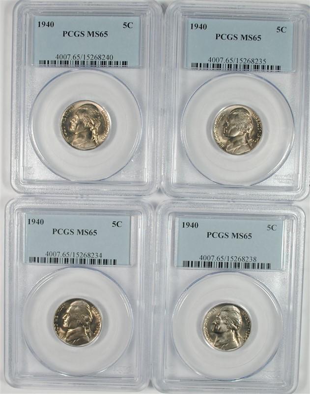 (4) 1940 Jefferson Nickels PCGS MS-65