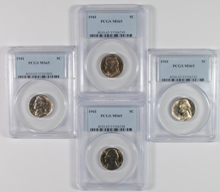 ( 4 ) 1941 JEFFERSON NICKELS, PCGS MS-65