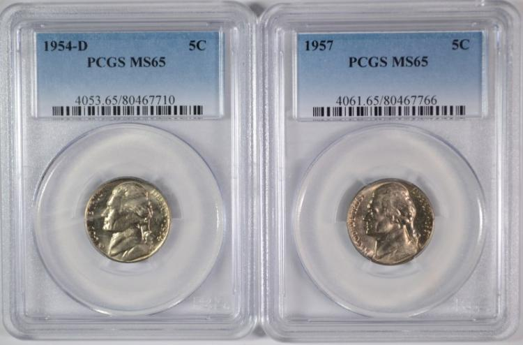 1954-D, & 57 JEFFERSON NICKELS PCGS MS-65