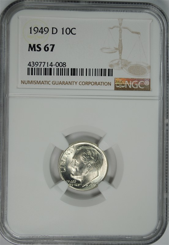 1949-D ROOSEVELT DIME NGC MS-67